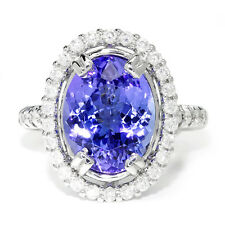 GIA Certified Tanzanite Oval Halo Ring with Diamonds 18K White Gold 6.98ctw