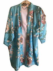 Vintage Pure Silk Kimono Robe Short Gown Jacket Japanese With Belt