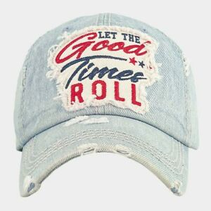 """""""LET THE GOOD TIMES ROLL"""" Embroidered Patch Light Blue Denim Baseball Cap Hat"""