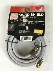 RCA DH12QCF Quad Shield RG6 12 Feet 3.6 Meter Coax Cable 3GHz HDTV Gold Plated