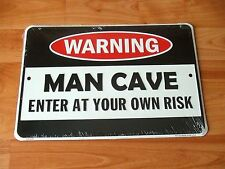 Man Cave Warning Sign Enter At Your Own Risk Embossed Metal Tin Shed Garage Bar