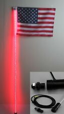4 feet Led light bulb whip with American flag Quick Release- Red Color