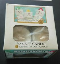 YANKEE CANDLE FESTIVE  MERRY MARSHMALLOW BOX OF 12 CHRISTMAS TEALIGHTS  RARE