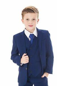 Festlicher Kinderanzug 5tlg. Kommunionanzug Jungen Anzug Tufanzug Hochzeit blau
