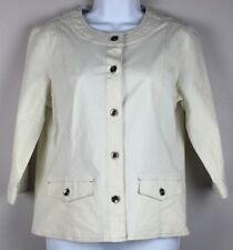 DENIM & COMPANY Women's Jacket 3/4 Sleeves 2 Hip Pockets Stretch Ivory Size S