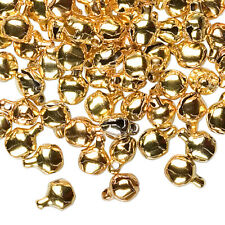 """100 Tiny Metal Jingle Bells ~ Gold Color ~ Beads Drops Charms 6mm (1/4"""") w/ Loop"""