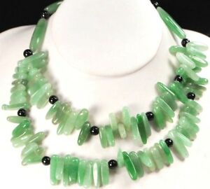 """Double Strands Natural Green Aventurine Silver Toggle Necklace 19"""" FREE SHIPPING"""
