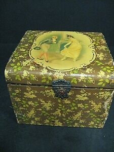 Antique Victorian Celluloid Dresser Vanity Collar Box with Dancing Couple box