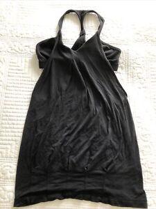 Lululemon Black Racer Back Vest Training Top Internal Support Short Top Size XS
