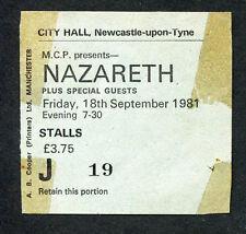 Original 1981 Nazareth concert ticket stub Newcastle Upon Tyne Uk Love Hurts