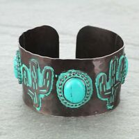 Cowgirl Western Chocolate Metal Patina Turquoise Concho Cactus Cuff Bracelet
