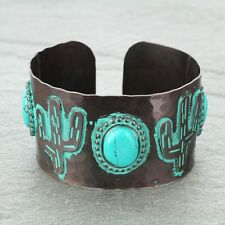 Western Adjustable Copper Tone Patina Turquoise Concho Cactus Cuff Bracelet