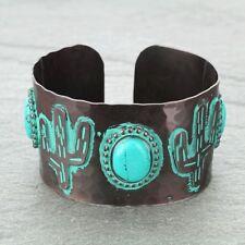 Cactus Cuff Bracelet Copper Tone Patina Turquoise Concho Western Adjustable
