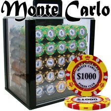 NEW 1000 PC Monte Carlo 14 Gram Clay Poker Chips Acrylic Case Set Pick Chips