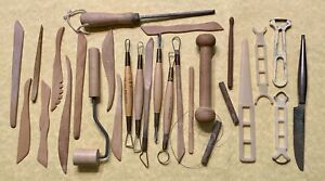 Vtg 27 Pcs Lot Clay-Pottery-Ceramics KEMPER Sculpting,Carving,Wood,Plastic Tools