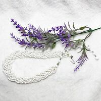 1950's Six Strand Braided White Seed Bead Choker Necklace - Unmarked