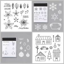Xmas Bells Tree Snowflake Bus Metal Cutting Dies Stamp Set Card Making Diy Craft