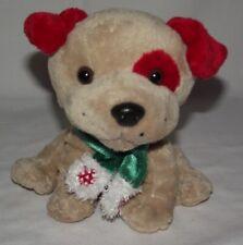 BullDog Brown Dog Plush Stuffed Animal Toy Red Ears Spot Green Scarf Christmas