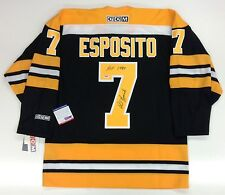 PHIL ESPOSITO SIGNED & INSCRIBED BOSTON BRUINS HOF CCM JERSEY PSA/DNA U41611