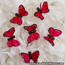 """1.5"""" Fake Artificial Decorative RED Feather Butterflies w/ Wire 12pcs Butterfly"""