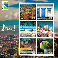 Guyana 2013 MNH Brazil Sites & Scenes Brasiliana 6v M/S Tourism Birds Stamps
