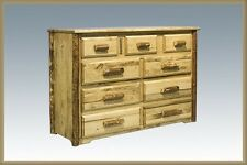 9 Drawer Dresser with DOVETAIL Drawers, Amish Made Rustic Log Furniture