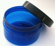 Wholesale Bulk 64x 100g Blue  Medium Plastic Cosmetic Jar Packaging + Black Cap