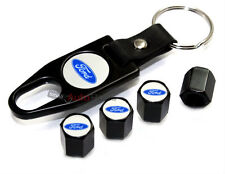 Ford Blue Logo Black Tire/Wheel Stem Air Valve CAPS & Wrench Key Chain gift set