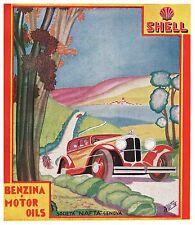 PUBBLICITA' 1931 SHELL BENZINA AUTO MOTO VELOCITA' OLIO STRADA PAESAGGIO W.ROSSI