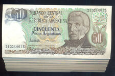 ARGENTINA BUNDLE 100 NOTES 50 $ PESOS ARGENTINOS P 314 UNC 1983-85 CORRELATIVE