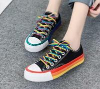 Women Fashion Rainbow Color Lace Up Canvas Sneakers Shoes Flat Casual Athletics
