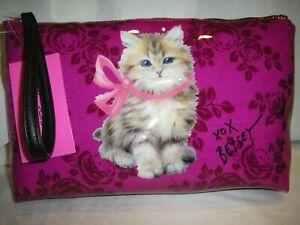 Betsey Johnson Reverse Fuschia Pink Print Wristlet Cat Large Size FACTORY SEALED