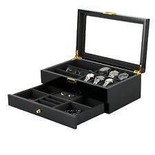 3 Sunglass Display Case Organizer Double-Layer Wooden Watch Jewelry Box 6 Watch