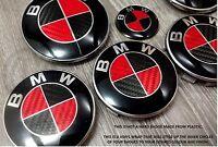 Rojo y Negro Fibra de Carbono Placa Revestido para BMW Hood Trunk Llantas @
