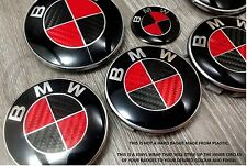 RED & BLACK CARBON FIBER Badge Overlay FOR BMW HOOD TRUNK RIMS @FITS ALL BMW@