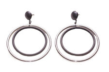 Sleek & Minimalist- Black Metal & Chrome Hoop/Stud Style Metal Earrings(Zx262)