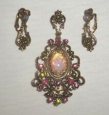 c. 1975 Sarah Coventry Pin / Pendant with Clip Earrings