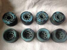 (8) VINTAGE  Blue Swirled ROLLER SKATE WHEELS