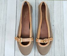 Talbots Wanda Flats Mary Jane Brown Leather Fatigue Canvas Womens US 9M