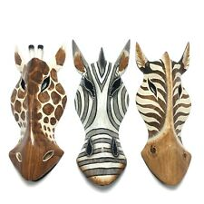 Zebra Giraffe Horse Wood Mask Hand Carved African Safari Wall Hanging 10 inches