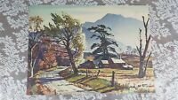 **Watercolor Print Ted Kautzky Vintage Print log cabin forest mountain landscape