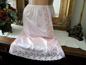"beautiful pink lacy nylon half slip lingerie measures 24-36"" waist"