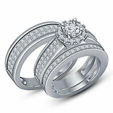 Ladies 14k White Gold Diamond Trio Bridal Set Wedding Ring