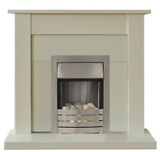 ELECTRIC FIRE IVORY BRUSHED STEEL FIREPLACE SURROUND PEBBLES BLACK BACK PANEL