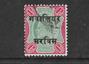 INDIA GWALIOR KEVII 1903 - I Rupee  - SG 60A (Green & red) - Very Fine Used