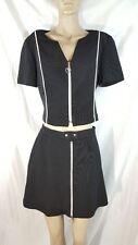 Joseph Ribkoff Skirt Set Black White Front Zip Mini Sexy sz 10