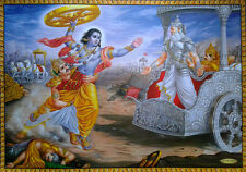 "Arjuna Stops Krishna from Attacking Bhishma in Mahabharata - POSTER 20""x28"""