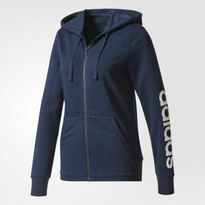 ADIDAS logo sleeve full zip-up women's hoodie - Navy blue - LARGE