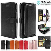 iPhone 8 8 Plus 7 Case for Apple ZUSLAB Detachable Zipper Leather Wallet Cover