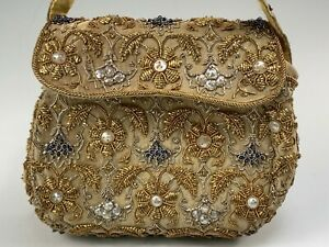 Exquisite Hand Made Beaded & Jeweled Silk Evening Purse in Case